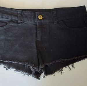 2/20 Ladies black denim mini shorts size 24